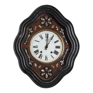 French 19th Century Napoleon III Mother-of-Pearl Inlay Wall Clock For Sale