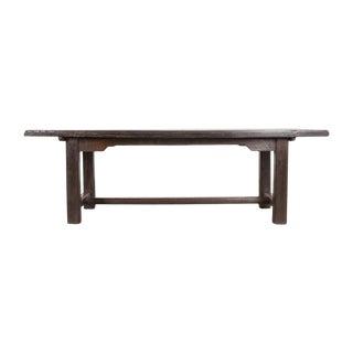 19th Century French Provincial Oak Trestle Farm Table For Sale