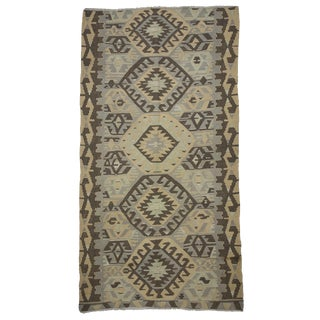 "1960s Turkish Flat Weave Floor Kilim Rug - 5'1"" X 9'8"""