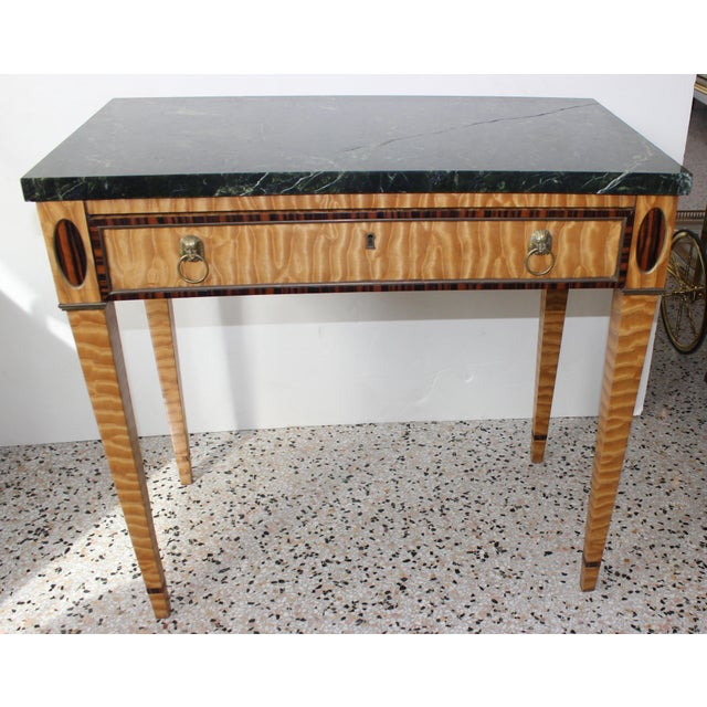 Antique Mid-19 Century American Side Table in Ribbon Satinwood and Marble For Sale - Image 13 of 13