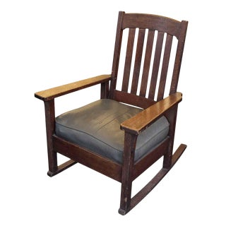 20th Century Traditional Stickley Oak Rocking Chair For Sale