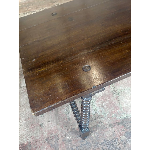 Metal 20th Century Spanish Revival Walnut Table With Iron Stretcher Bars For Sale - Image 7 of 12