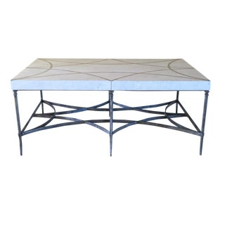 Faux Stone and Metal Coffee Table For Sale