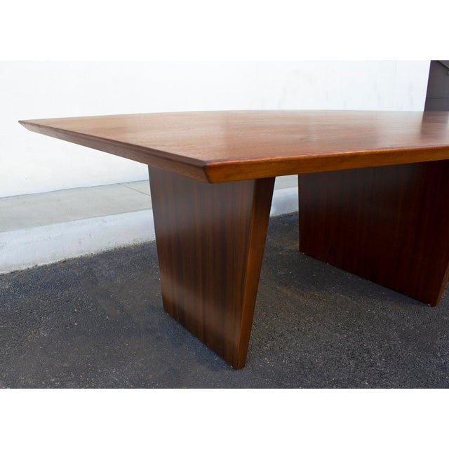 Dunbar Furniture Massive Edward Wormley for Dunbar Walnut and Mahogany Dining / Conference Table For Sale - Image 4 of 12