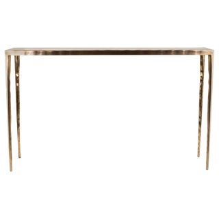 """""""Melting"""" Console Table in Cream Shagreen & Bronze-Patina Brass by R&y Augousti For Sale"""