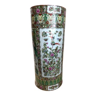 Over Sized Rose Canton Porcelain Umbrella Stand For Sale