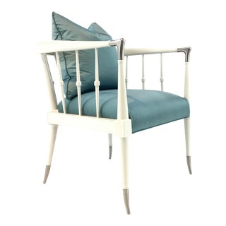 Modern Caracole Blue Silk Finesse Chair For Sale