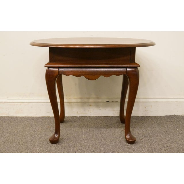 Mersman Solid Cherry Queen Anne Oval End Table For Sale In Kansas City - Image 6 of 8