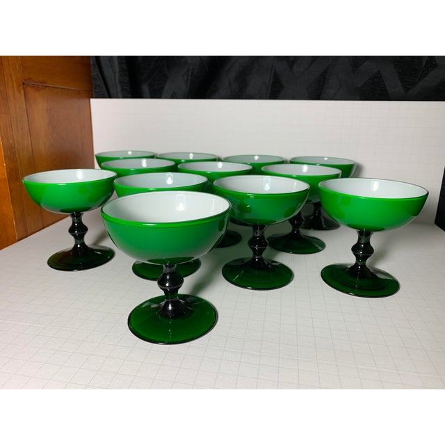 Glass 1960s Carlo Moretti Emerald Green and White Cased Glass Champagne Goblets - Set of 12 For Sale - Image 7 of 13