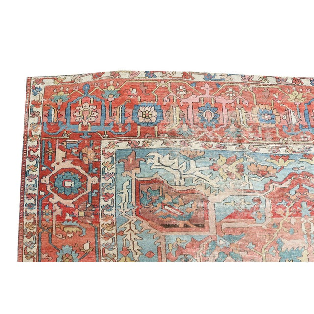 One of a kind, Antique Persian classical Heriz rug. This is unique in that generally rugs have a special all over pattern....