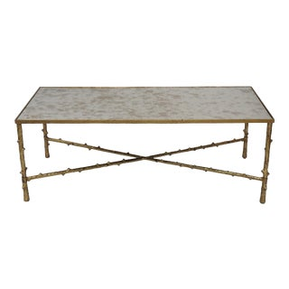 Metal and Antique Mirror Top Center Coffee Table
