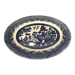 "Blue Willow 14.5"" Oval Platter by Churchill of Staffordshire England For Sale"