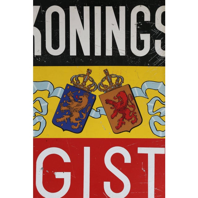 A tin sign from The Netherlands advertising Kings Yeast. The symbolic Lion of the Dutch Republic is also the trade mark of...