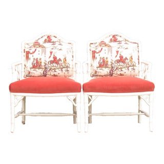Faux Bamboo Chinoiserie Chairs in Coral & White, Pair Preview
