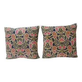 Pair of Pink & Blue Floral Asian Batik Decorative Pillows For Sale