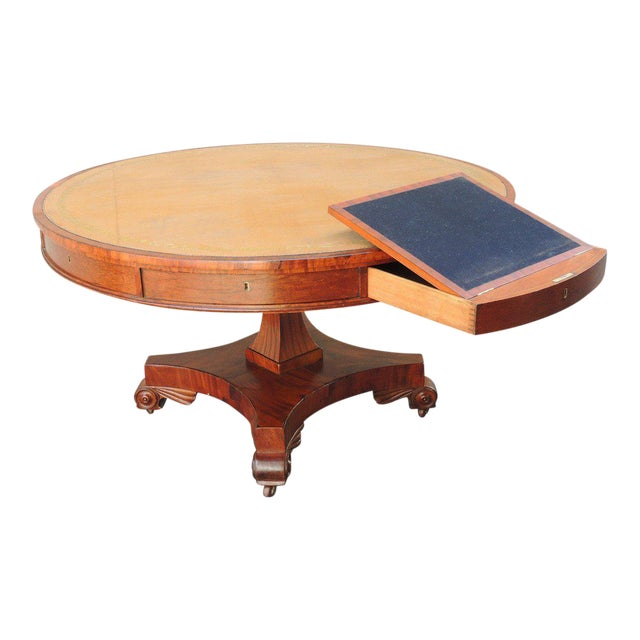 Early 19th C English Regency Library Table with Writing Slide For Sale