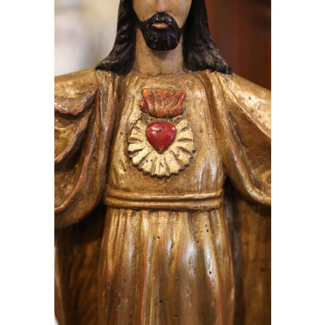 """18th Century Spanish Carved Polychrome Gilt Statue of Christ With """"Sacred Heart"""" For Sale - Image 4 of 13"""