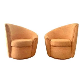 1980s Quebec 69 Yellow Swivel Chairs in the Manner of Vladimir Kagan - a Pair For Sale