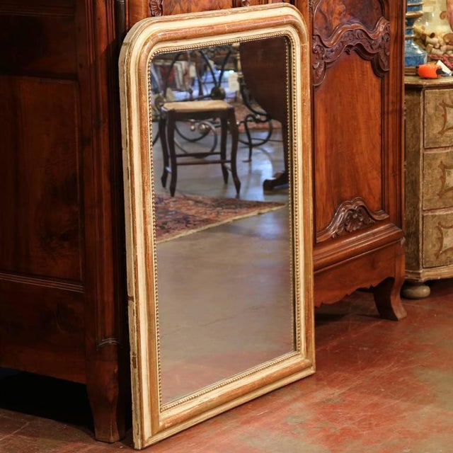 19th Century French Louis Philippe Goldleaf Mirror With Beads For Sale In Dallas - Image 6 of 8