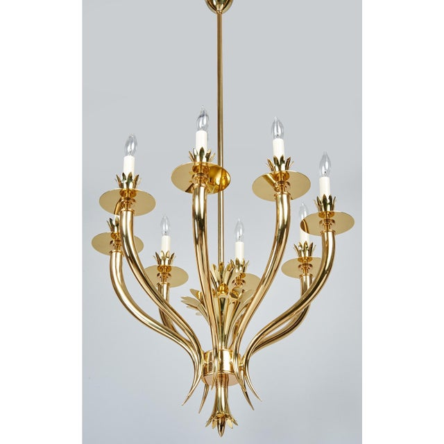 1930s Gio Ponti Important Geometric 8-Arm Chandelier in Polished Brass, Italy 1930s For Sale - Image 5 of 11