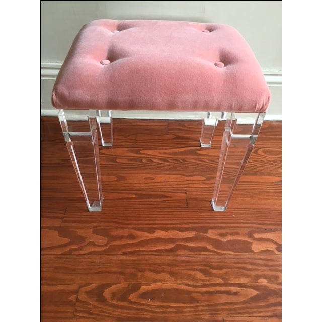 Acrylic Legged Stool & Coral Cushion - Image 2 of 4
