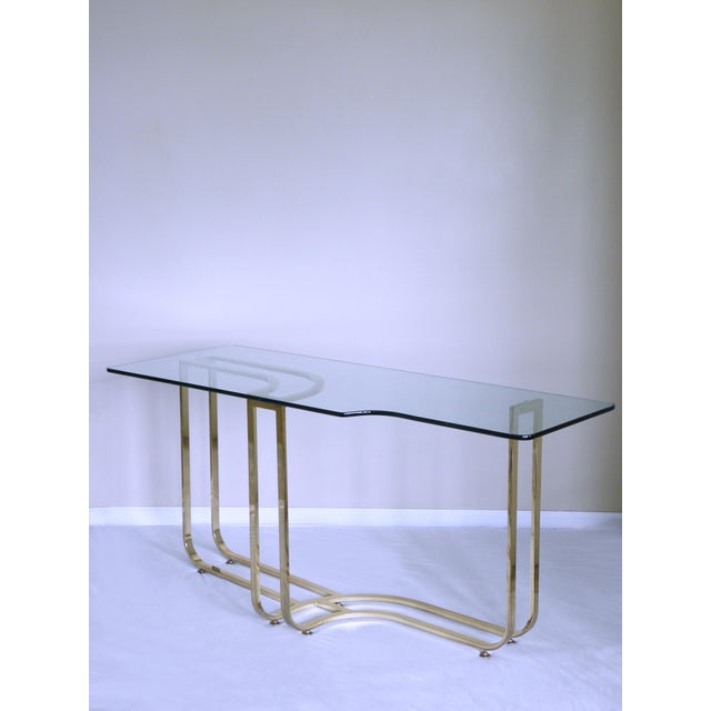 1980s 1980s Hollywood Regency Sculptural Brass Console Table For Sale - Image 5 of 7