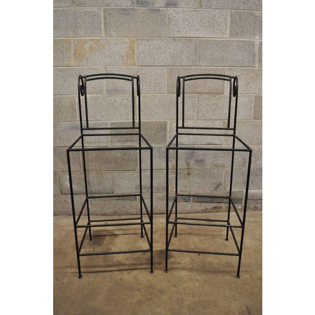 "Pair of Wrought Iron Curule Frame Scroll Back 30"" Seat Bar Counter Stools Chairs. Item features scrolling backs, wrought..."