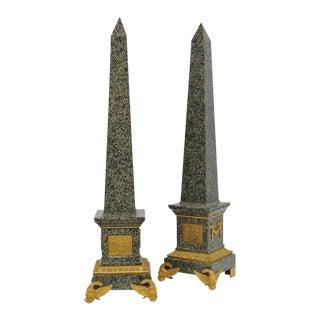 Monumental Pair of Italian Grand Tour Ormolu-Mounted Green Granite Obelisks For Sale