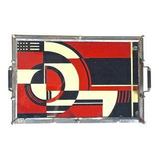 Art Deco Jazz Geometric Eglomisé Tray