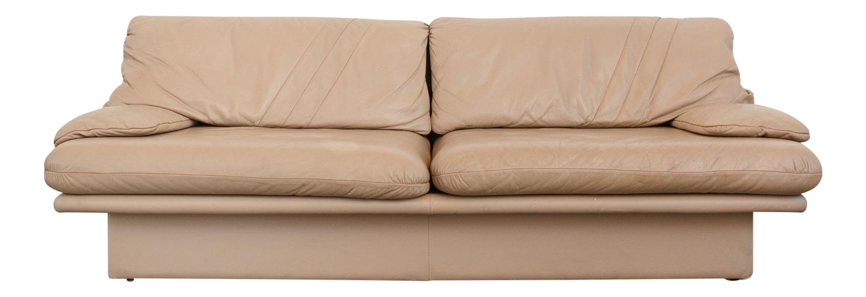 Italian Modern Camel Leather Sofa