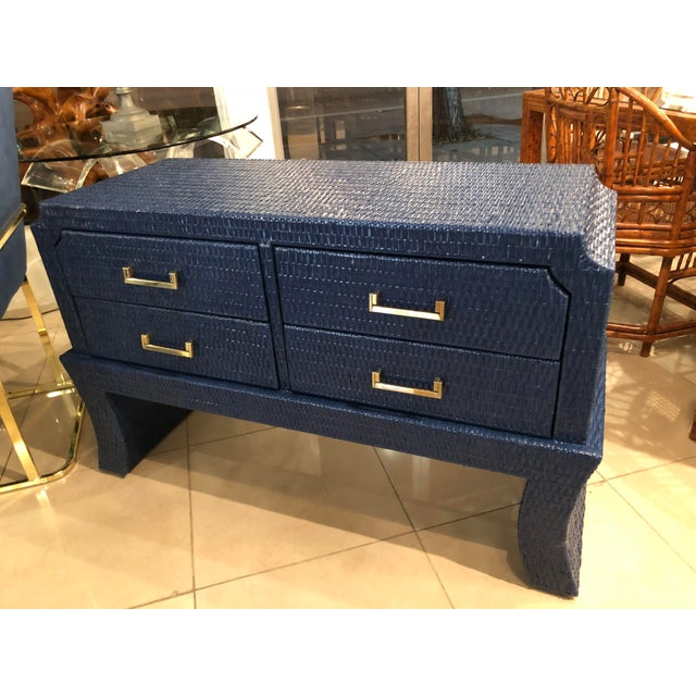 Blue Vintage Blue Lacquered Wicker Brass Credenza Chest Console Table For Sale - Image 8 of 13