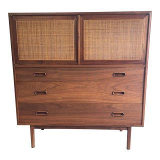Mid Century Modern Vintage Walnut Highboy Dresser For Sale