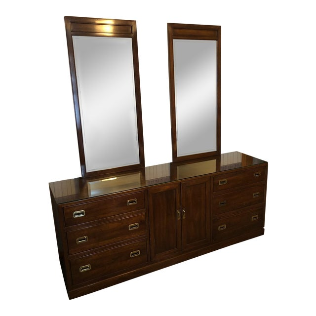 Vintage Ethan Allen Canova Cherry Campaign Style Dresser With Mirrors For Sale
