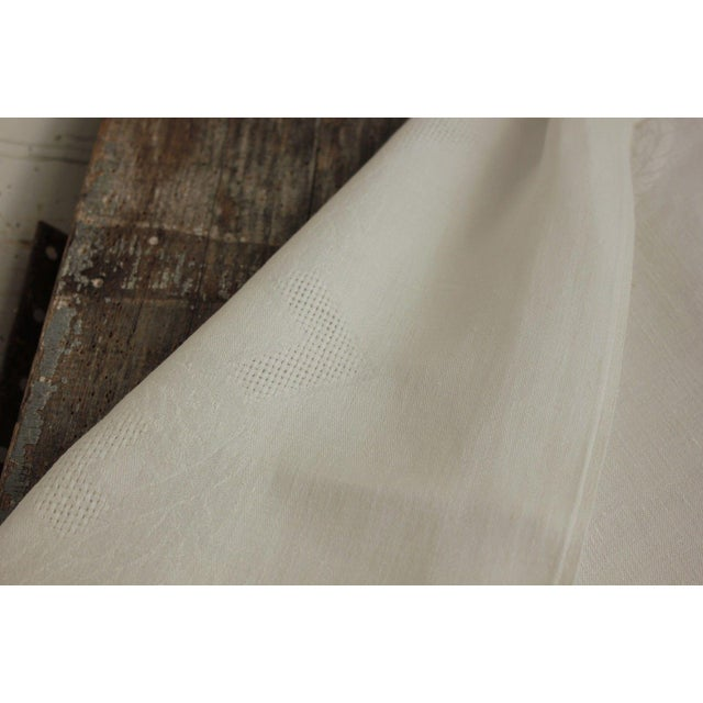 """Vintage French White Linen Cotton Damask """"VT"""" Christmas Tablecloth - 62"""" x 90"""" For Sale - Image 4 of 9"""