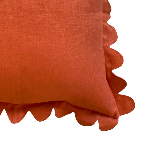 The 100% linen scalloped pillow is hand cut and sewn in Los Angeles, California. The pillow is made-to-order and features...