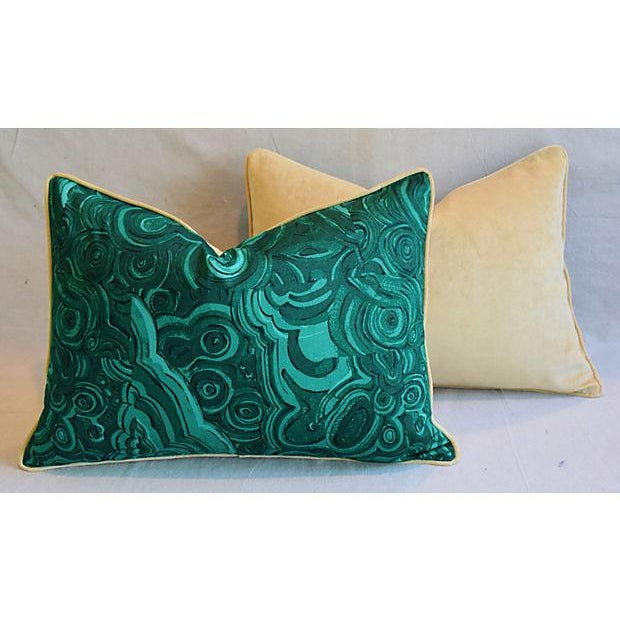 """Green 25"""" X 18"""" Custom Tailored Jim Thompson Malachite Green Feather/Down Pillows - Pair For Sale - Image 8 of 11"""