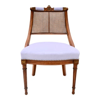 Louis XVI Style Caned Swag Back Slipper Chair For Sale