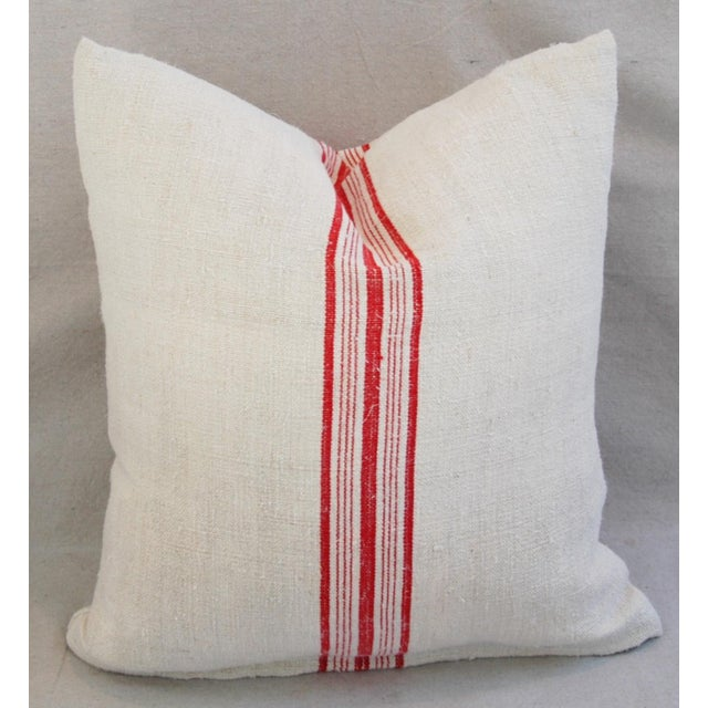 Red Stripe French Grain Sack Pillows - Pair - Image 10 of 11