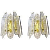 Image of Venini Mazzega Style Brass and Frosted Crystal Sconces - a Pair For Sale
