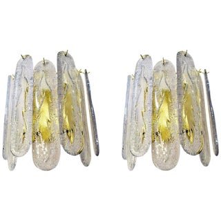 Venini Mazzega Style Brass and Frosted Crystal Sconces - a Pair For Sale