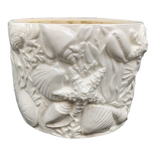 Vintage Ceramic Seashell Cache Pot For Sale