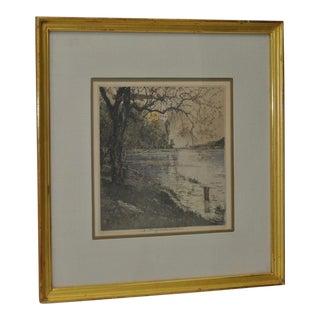 "Luigi Kasimir (1881-1962) ""Persenbeug Castle"" Estate Signed Etching W/ Aquatint C.1929"