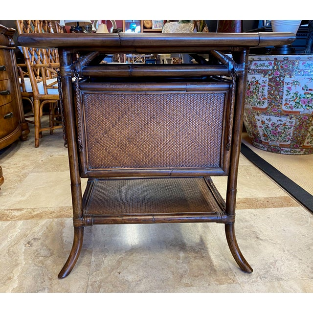 Wood Asian Rattan End Table With Drop Shelves For Sale - Image 7 of 12