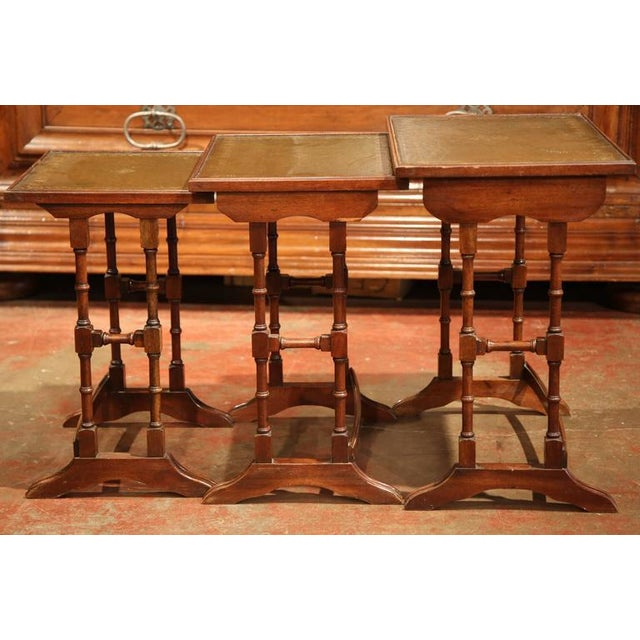 French Wooden & Green Leather Nesting Tables - Set of 3 - Image 5 of 5