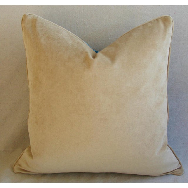 "Boho Chic Chevron Flamestitch Cut Aqua Velvet Feather/Down Pillows 24"" Square - a Pair For Sale - Image 9 of 15"