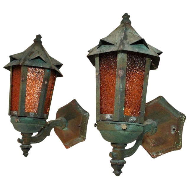 1920s Copper Outdoor Sconces - a Pair For Sale