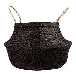 Medium Black Sea Grass Belly Basket For Sale