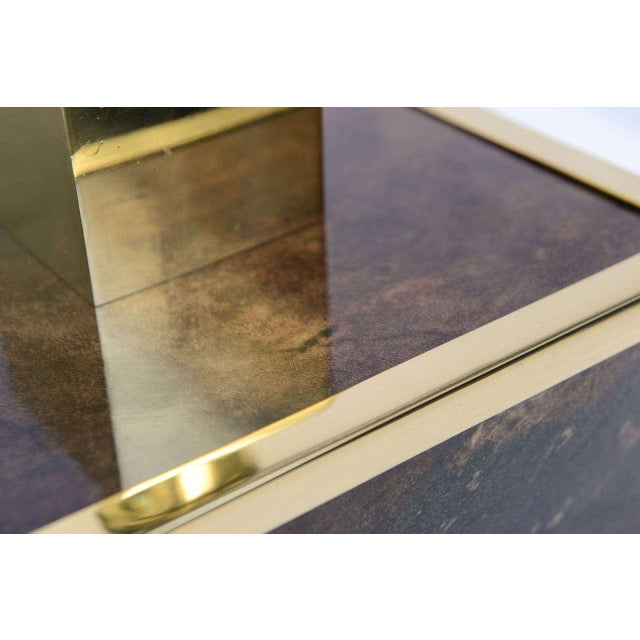 Aldo Tura Goatskin and Brass Table Lamp - Image 3 of 10