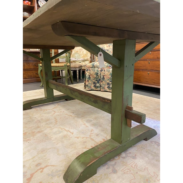 Antique Farmhouse Distressed Green Dining Table For Sale - Image 4 of 5