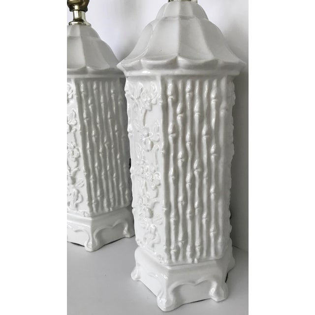 Ceramic Vintage Chinoiserie Ceramic Pagoda Lamps - A Pair For Sale - Image 7 of 10
